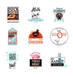 food logo set vector image