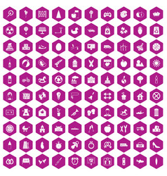 100 maternity leave icons hexagon violet vector