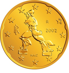 Obverse italian money gold euro coin vector
