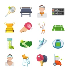 Tennis Icons Flat Set vector image