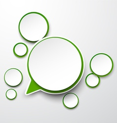 Paper white-green round speech bubbles vector