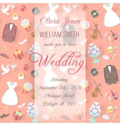 Wedding invitation card with blurred pattern vector