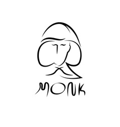 Monk face outline vector