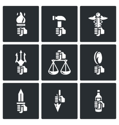 Symbols of the gods in greek mythology icons set vector
