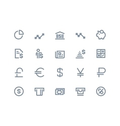 Finance and bank icons Line series vector image