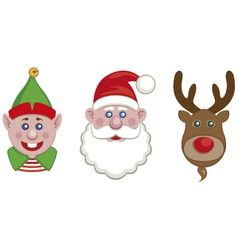 portraits of santa elf and reindeer vector image