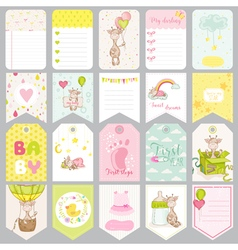 Baby boy tags baby banners scrapbook labels vector