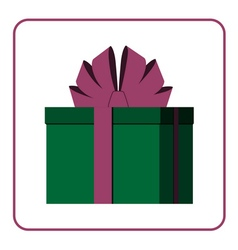 Colorful wrapped gift box icon green vector