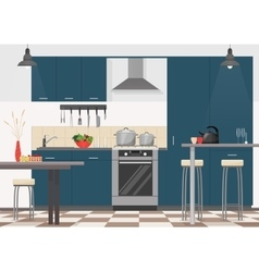 Modern kitchen interior with furniture and cooking vector