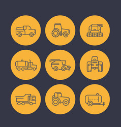 Agricultural machinery icons in linear style vector