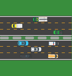 Asphalt highway with eight means of transportation vector