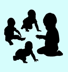 babies playing silhouette vector image vector image