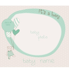 Baby boy photo frame vector