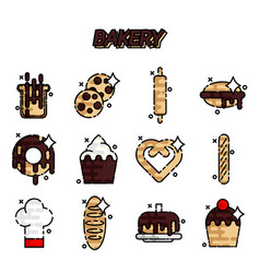 Bakery flat icons set vector