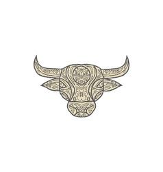 Bull cow head front mandala vector