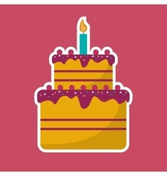 Cake cream cherry candle birthday pink background vector