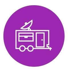 Caravan with satellite dish line icon vector
