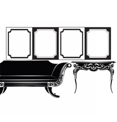 Classic wall frames and furniture vector