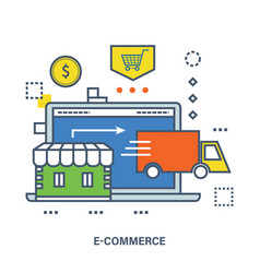 Concept of e-commerce store shop and delivery vector