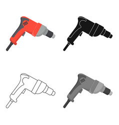 Drill icon in cartoon style isolated on white vector