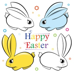 Easter set of rabbits Contour and painted vector image