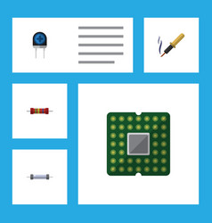 flat icon device set of transducer repair vector image vector image