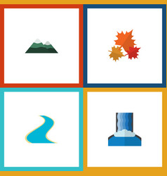 Flat icon nature set of cascade peak canadian vector