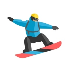 Freestyle snowboarder jumping from top of peak vector
