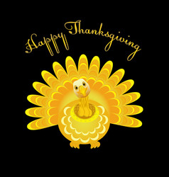 gold turkey bird for happy thanksgiving vector image vector image