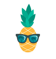 Icon of pineapple with sunglasses isolated on vector