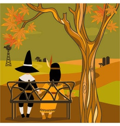 Kids in thanksgiving costumes sitting under a tree vector