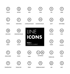 Line icons set currency market vector