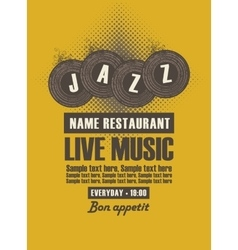 Musical poster for jazz restaurant vector