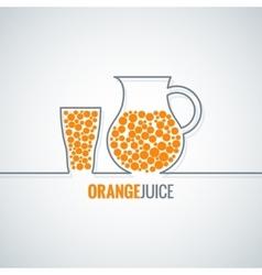 Orange juice glass bottle line background vector
