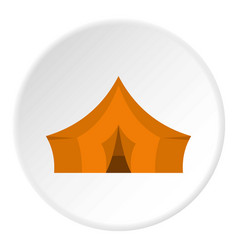 Orange tent for forest camping icon circle vector