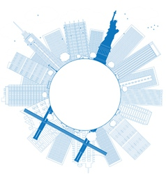 Outline new york city vector
