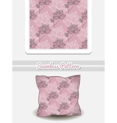 Pillow with pink floral pattern vector