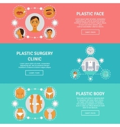 Plastic surgery concept horizontal banners set vector