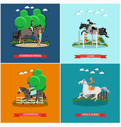 Set of horse concept posters in flat style vector