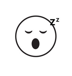 smiling cartoon face sleeping people emotion icon vector image