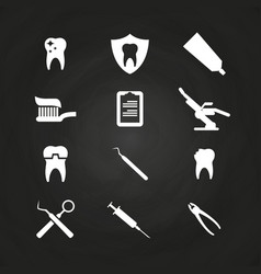 stomatology icons set on chalkboard - teeth care vector image