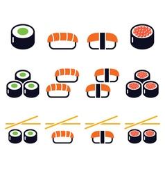 Sushi - japanese food icons set vector