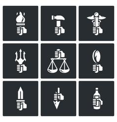 Symbols of the gods in Greek mythology icons set vector image vector image
