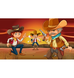 Three scary cowboys at the desert vector image vector image