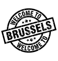 Welcome to brussels black stamp vector