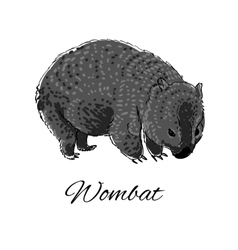 Wombat icon in doodle style logotype for business vector