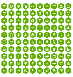 100 scenery icons hexagon green vector