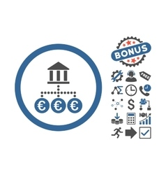 Euro bank transactions flat icon with bonus vector