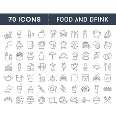 Set Flat Line Icons Drinks and Food vector image