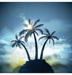 Three palm trees vector
